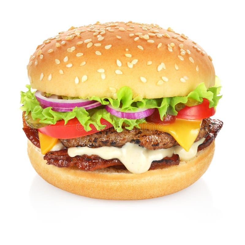 Hamburger d'isolement sur le blanc images stock