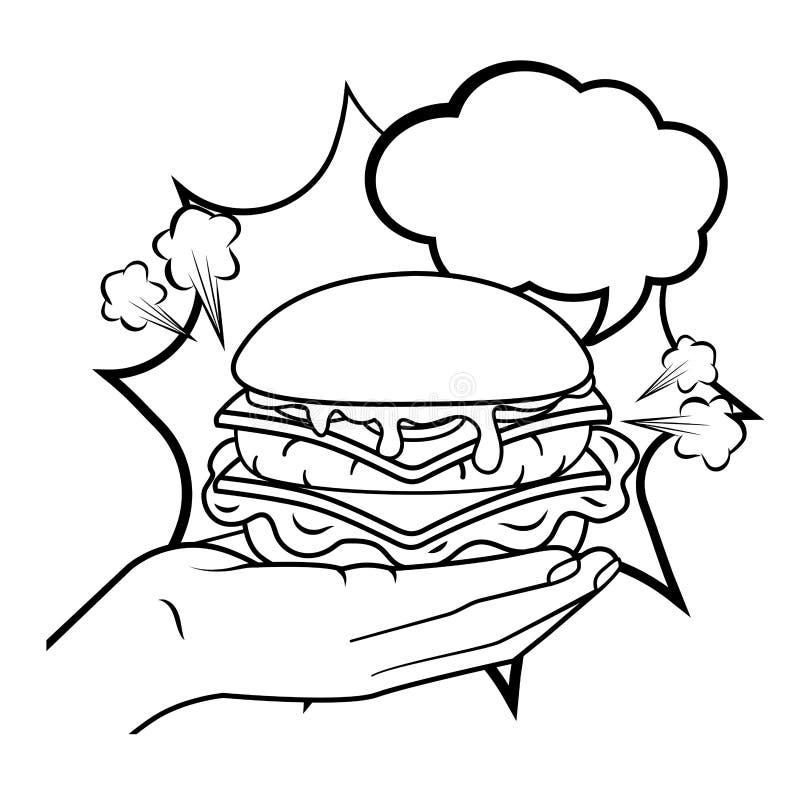 Hamburger da terra arrendada da m?o preto e branco ilustração stock