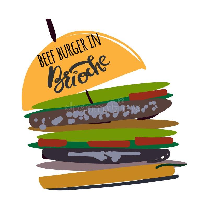 Hamburger dans l'illustration de brioche pour le menu, cartes, modèle illustration stock
