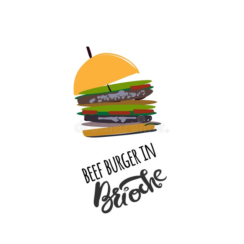 Hamburger dans l'illustration de brioche pour le menu, cartes, modèle illustration libre de droits