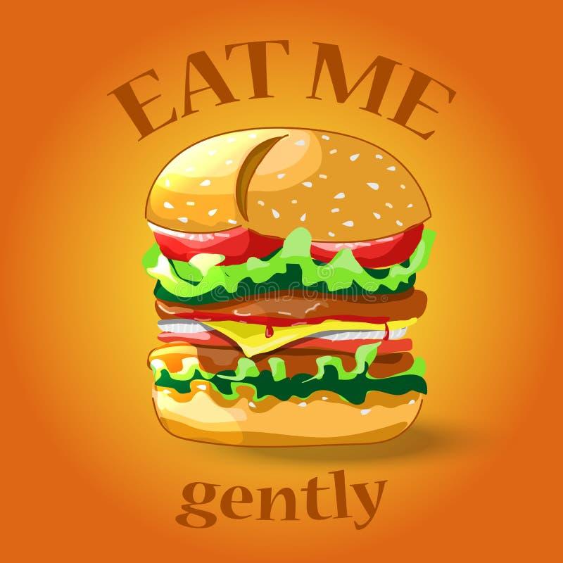 Hamburger de bande dessinée Icône de cheeseburger ou d'hamburger pour le repos de prêt-à-manger image stock