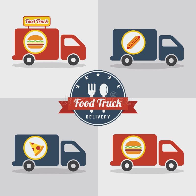 Hamburger de camion de nourriture Aliments de préparation rapide de rue Hamburger, hot-dog, Pizz illustration stock