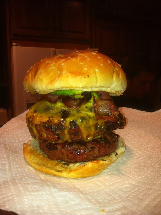 Hamburger de filet d'avocat de cheddar de lard photo stock