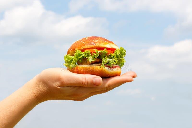 Hamburger in de hand royalty-vrije stock afbeeldingen