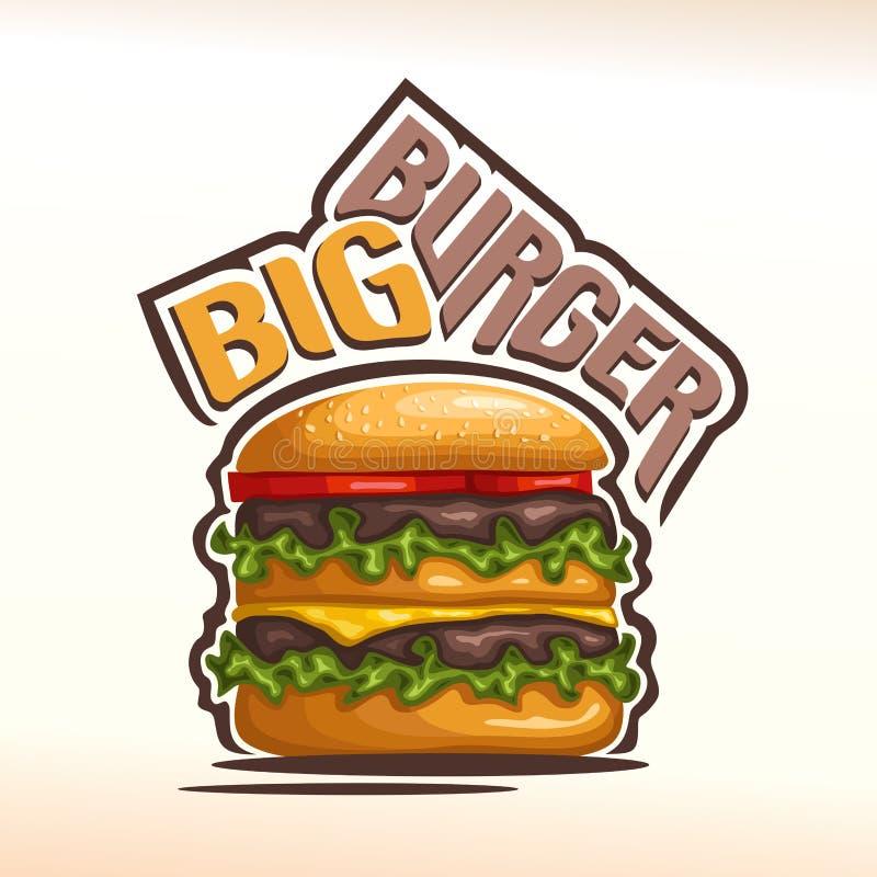 Hamburger de logo de vecteur grand illustration de vecteur