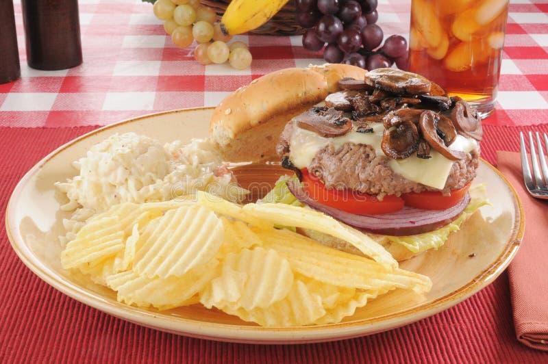 Hamburger de Suisse de champignon de couche image libre de droits
