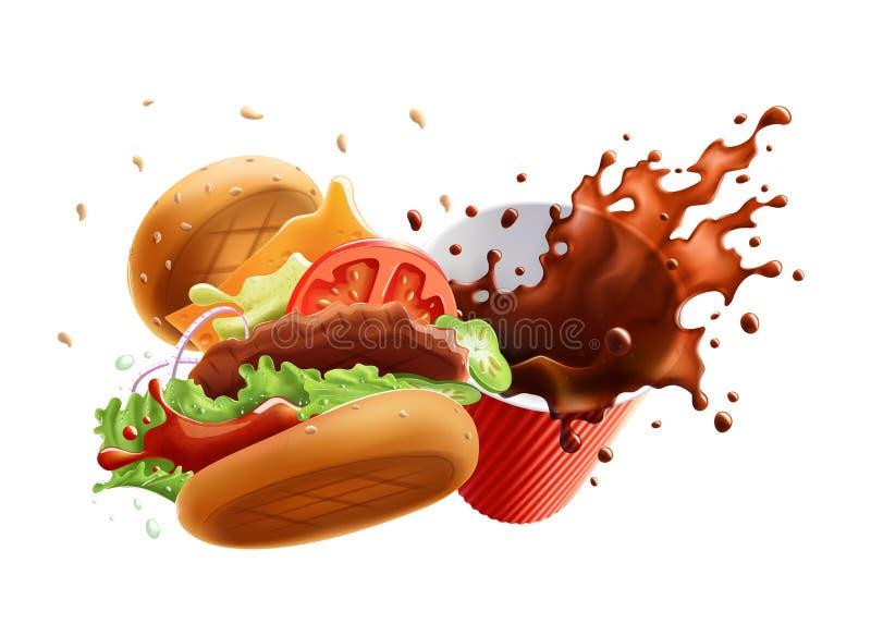 Hamburger de vol et tasse de café avec l'éclaboussure D'isolement sur le fond blanc illustration stock