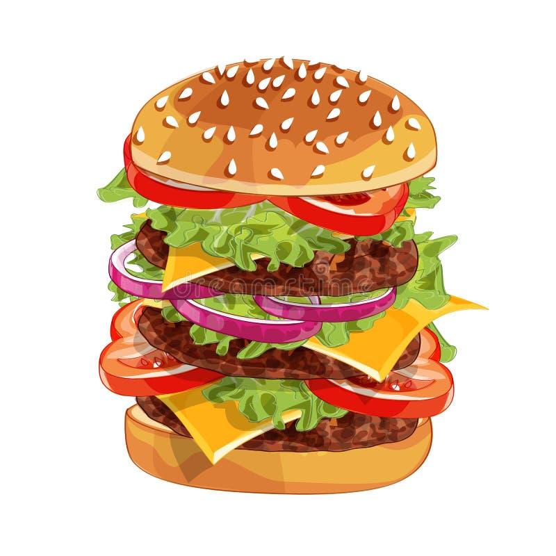 Hamburger del colorfull di vettore grande sopra qualsiasi fondo fotografia stock