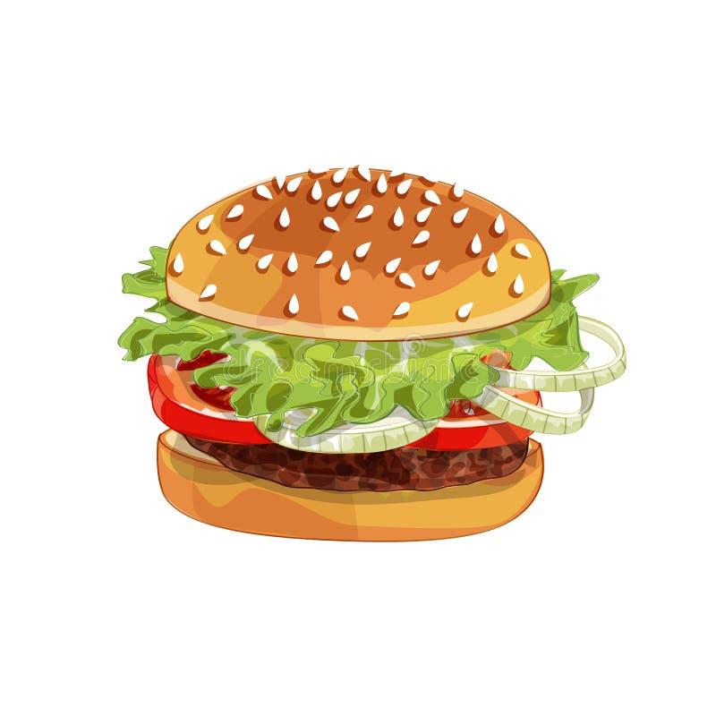 Hamburger del colorfull di vettore grande sopra qualsiasi fondo fotografie stock