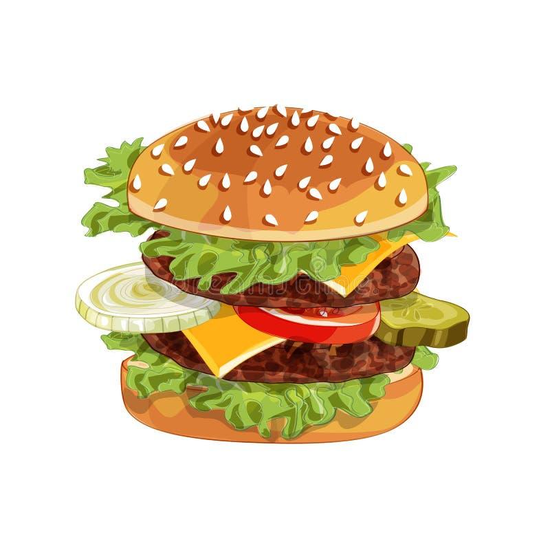 Hamburger del colorfull di vettore grande sopra qualsiasi fondo immagine stock libera da diritti