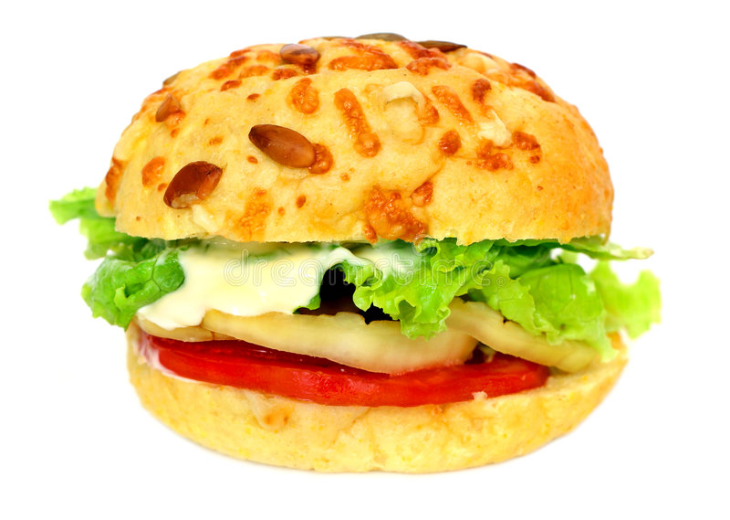 Hamburger del Veggie sopra bianco immagine stock
