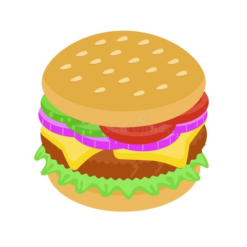 Hamburger delicioso com cebola e carne fotografia de stock royalty free