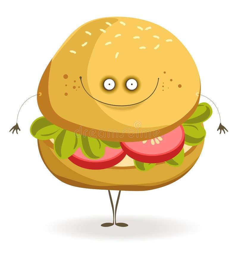 Hamburger delizioso del vegano con il fronte allegro e gli arti sottili royalty illustrazione gratis