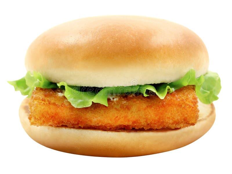 Hamburger della foto con i filetti di pesce immagine stock