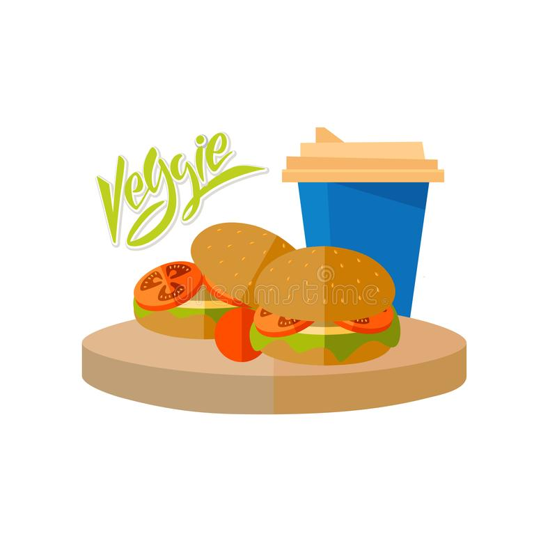 Hamburger della verdura con una verdura del testo e della tazza illustrazione di stock