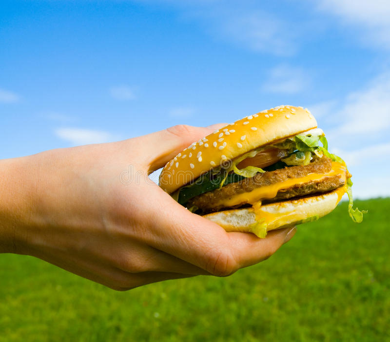 Hamburger in der Hand stockfoto