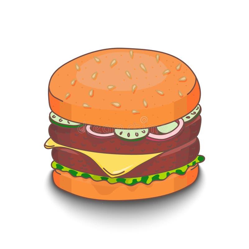 Hamburger desenhado à mão bonito do estilo dos desenhos animados com sombra no fundo branco ilustração stock