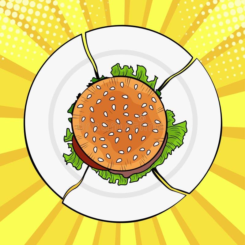 Hamburger di Pop art sul piatto rotto, alimenti a rapida preparazione pesanti illustrazione vettoriale