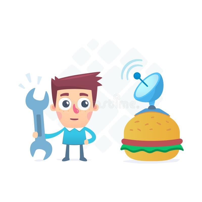 Hamburger di tecnologia illustrazione di stock