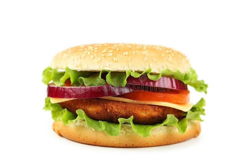 Hamburger die op witte achtergrond wordt geïsoleerdn royalty-vrije stock foto