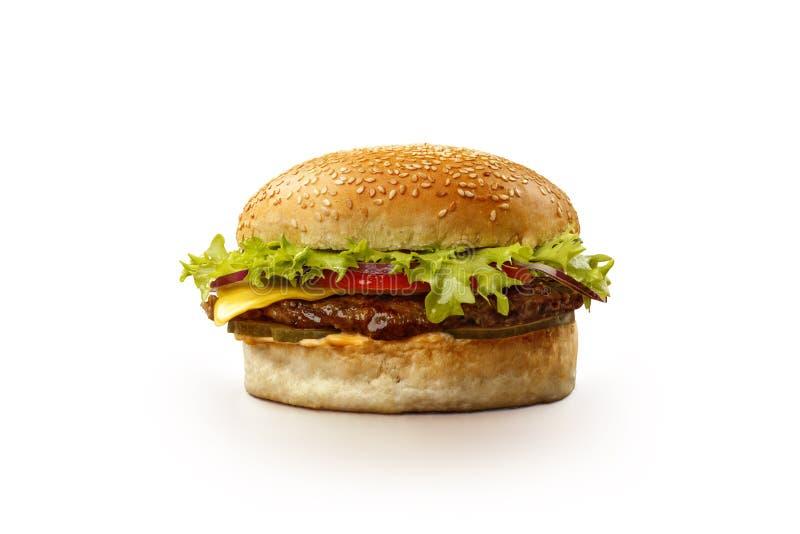 Hamburger die op witte achtergrond wordt ge?soleerdy royalty-vrije stock afbeeldingen