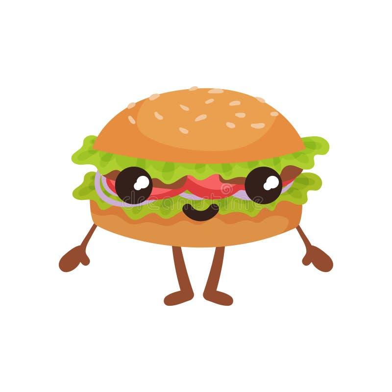 Hamburger divertente con il fronte smilling, illustrazione sveglia di vettore del personaggio dei cartoni animati degli alimenti  royalty illustrazione gratis