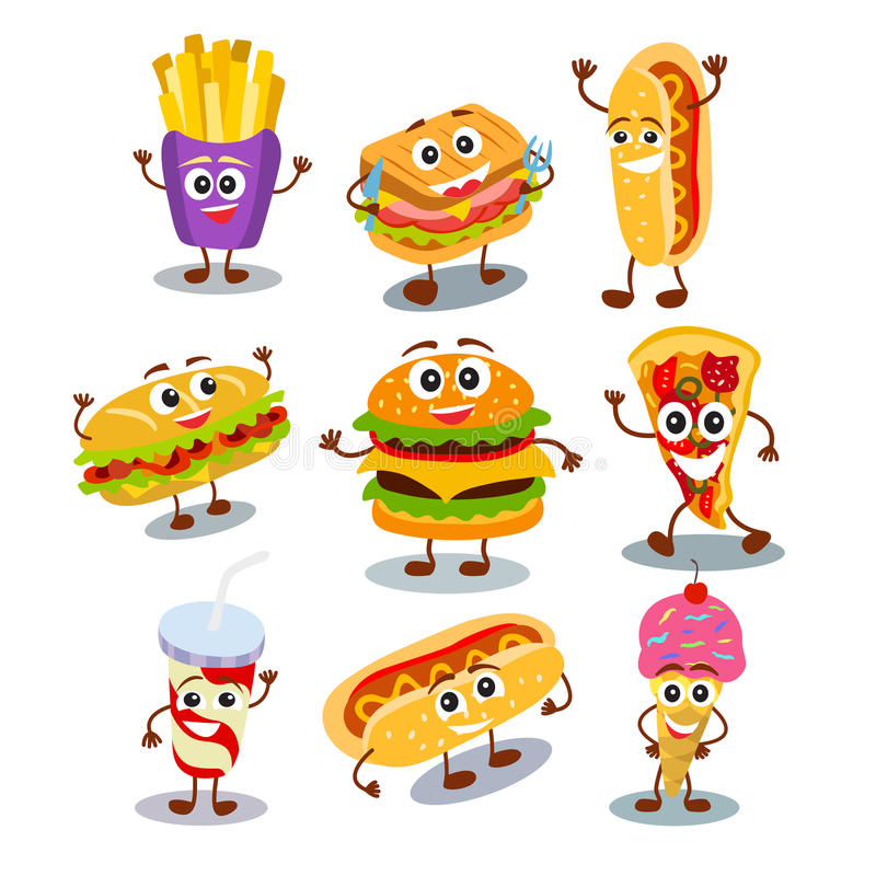 Hamburger divertente e sveglio degli alimenti a rapida preparazione, panino, hot dog, pizza, ghiaccio c royalty illustrazione gratis