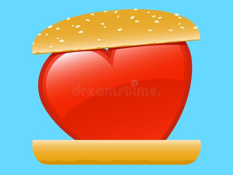 Hamburger do amor do coração ilustração stock