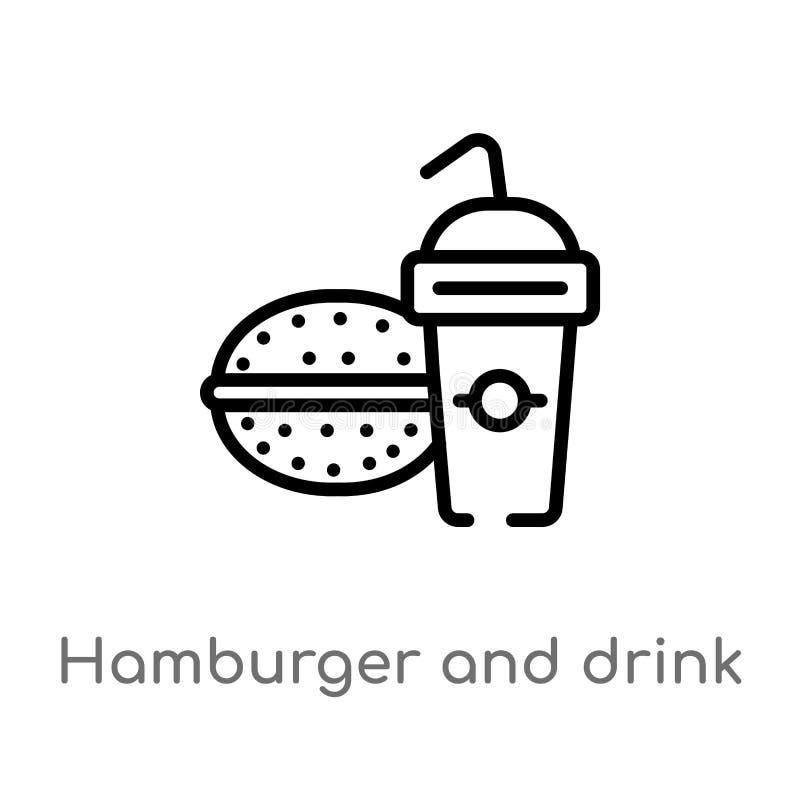 Hamburger do esboço e ícone do vetor da bebida linha simples preta isolada ilustração do elemento do conceito do alimento Curso e ilustração do vetor