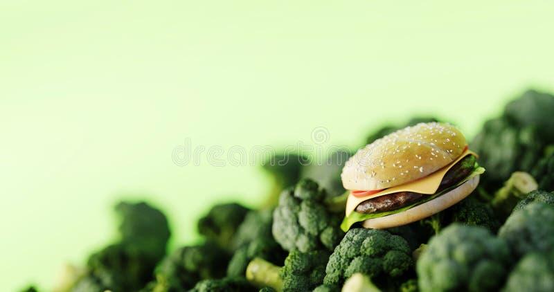 Hamburger do fast food contra vegetais saud?veis foto de stock