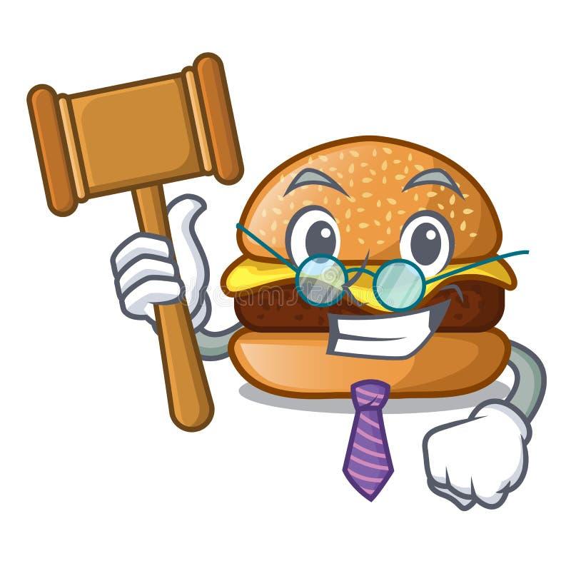 Hamburger do juiz com o queijo dos desenhos animados que toping ilustração royalty free