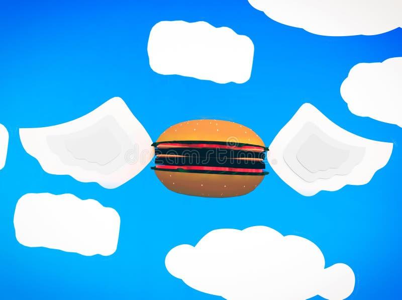 Hamburger do voo ilustração do vetor
