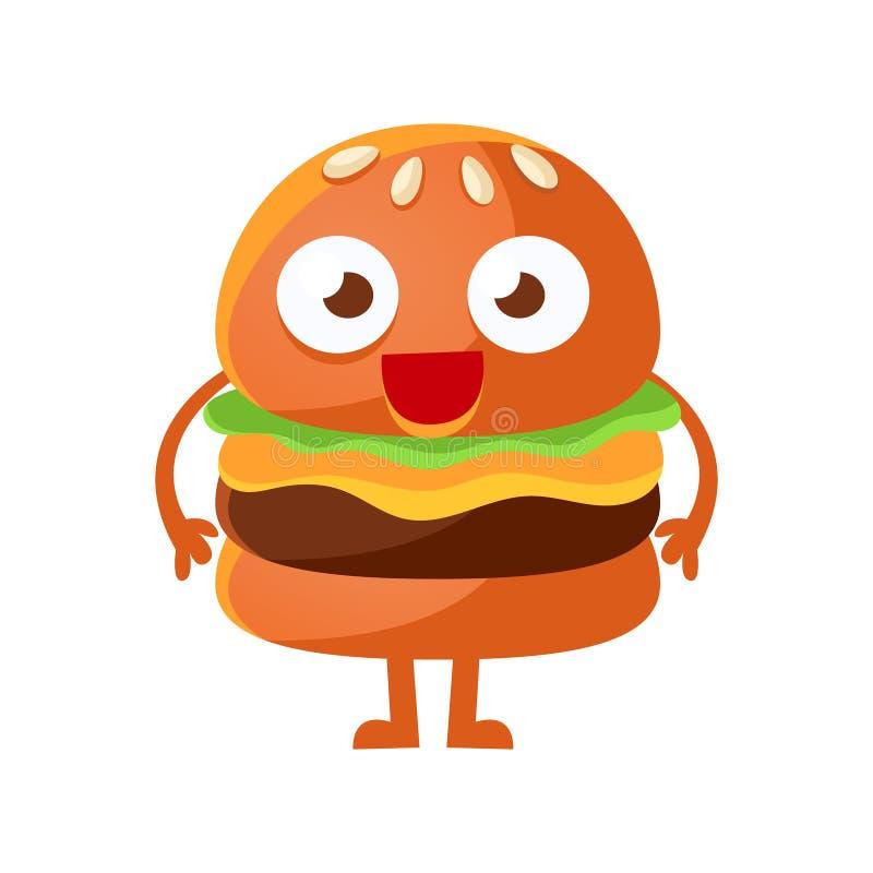 Hamburger drôle avec la grande position de yeux Illustration mignonne de vecteur de caractère d'emoji d'aliments de préparation r illustration stock