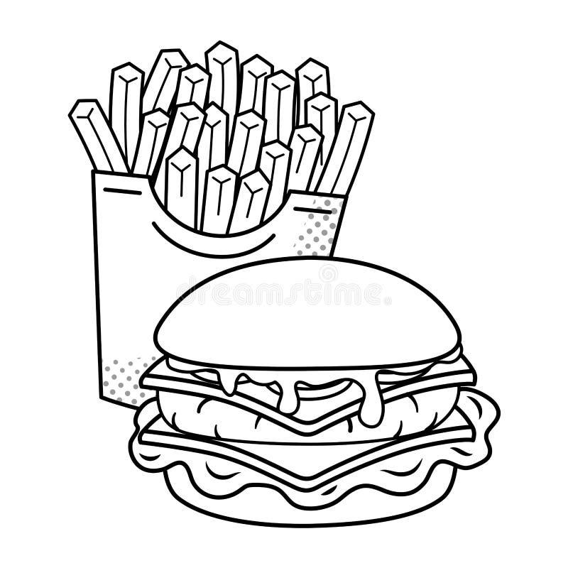 Hamburger e batatas fritas preto e branco ilustração do vetor