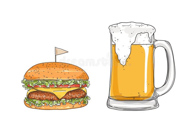 Hamburger e cerveja os vidros entregam a ilustração tirada do vetor da arte do estilo ilustração do vetor