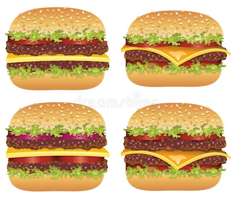 Hamburger e cheeseburgers do vetor ilustração do vetor