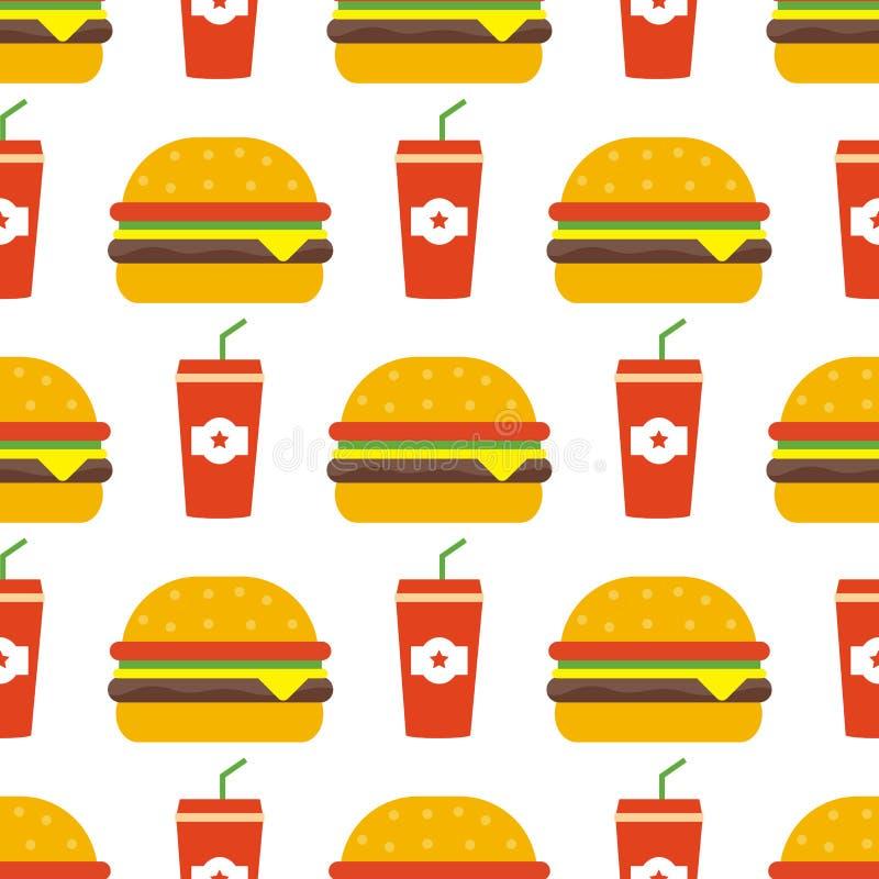 Hamburger e coke senza cuciture royalty illustrazione gratis