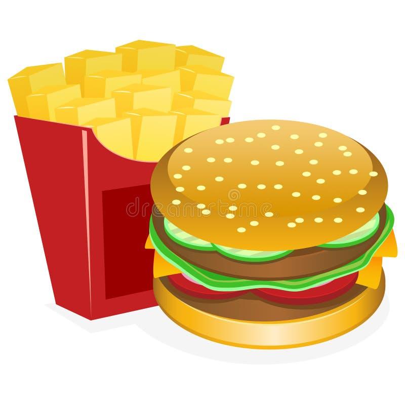 Hamburger e fritadas ilustração do vetor