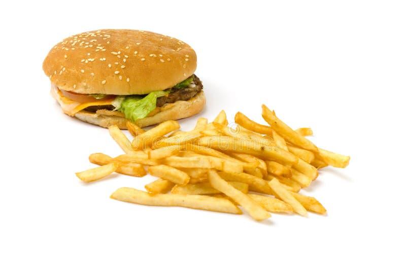 Hamburger e fritadas fotos de stock