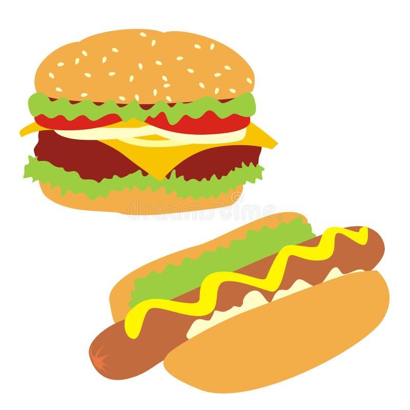 Hamburger e hot-dog isolados ilustração royalty free