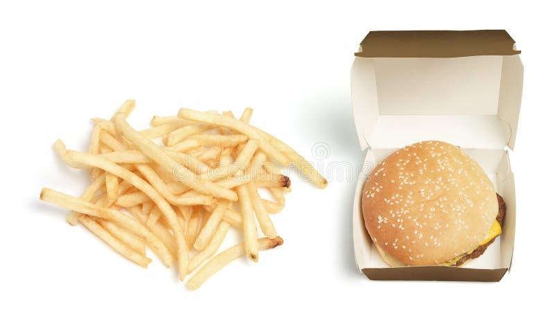 Hamburger e microplaquetas imagens de stock royalty free