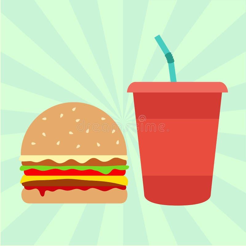Hamburger e soda ilustração stock