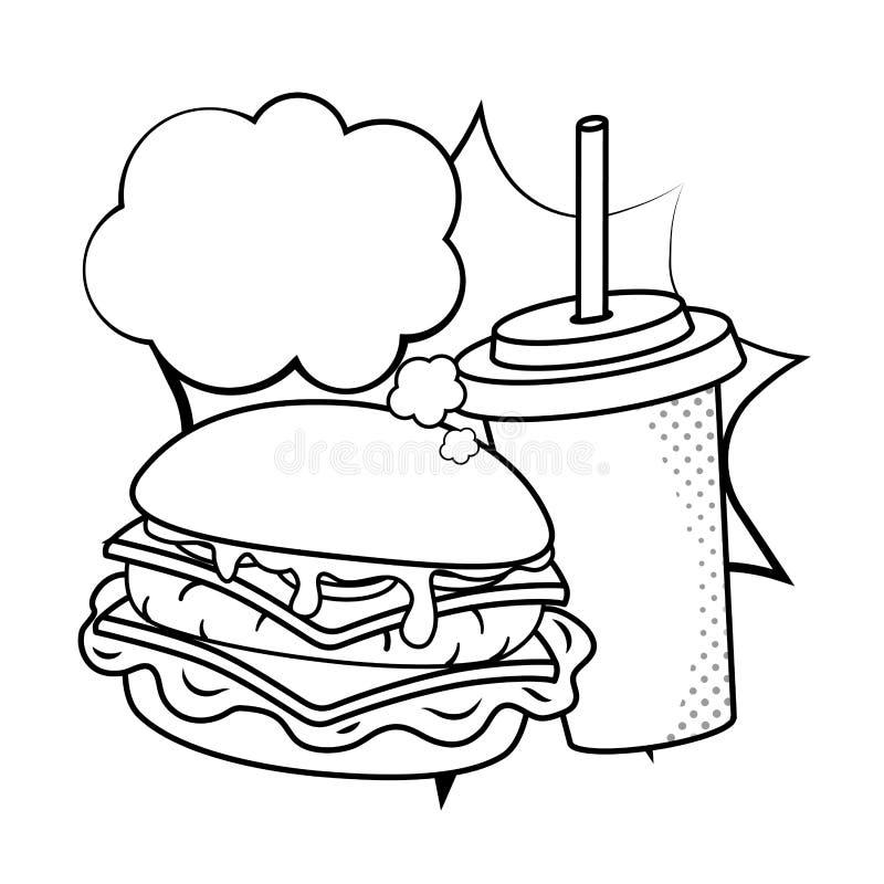 Hamburger e soda in bianco e nero illustrazione vettoriale