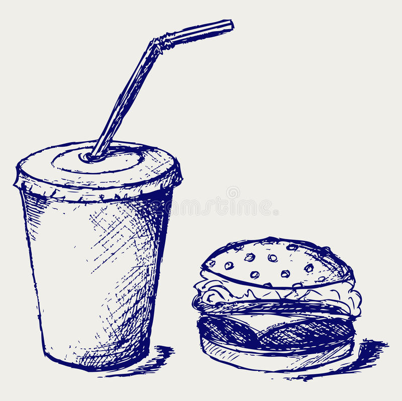 Hamburger e soda grandes ilustração do vetor