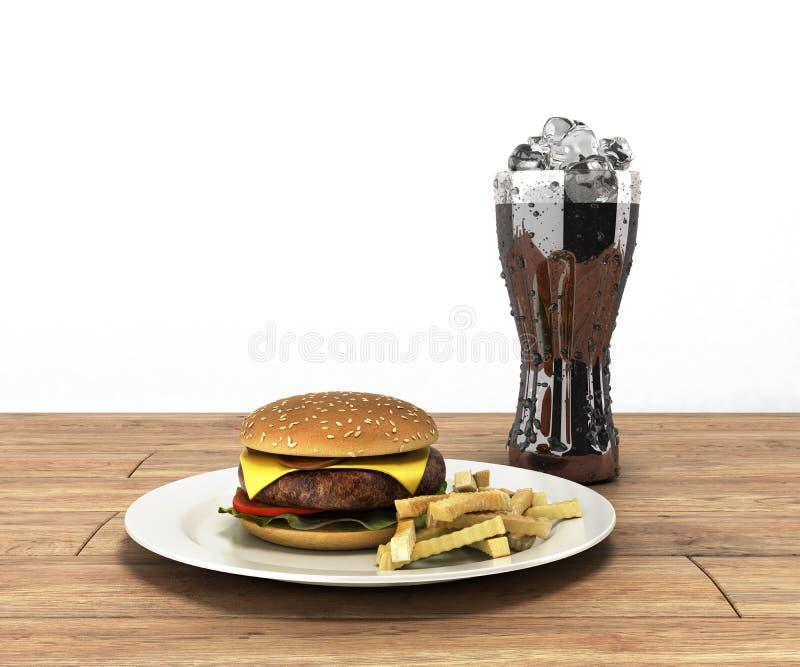 Hamburger e um vidro da cola com gelo na tabela de madeira Fre da cor ilustração stock