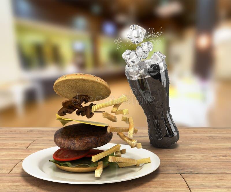 Hamburger e um vidro da cola com gelo na tabela de madeira Fre da cor ilustração royalty free