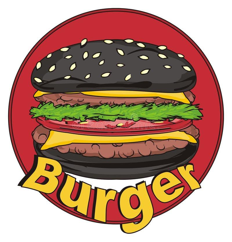 Hamburger ed icona neri illustrazione vettoriale