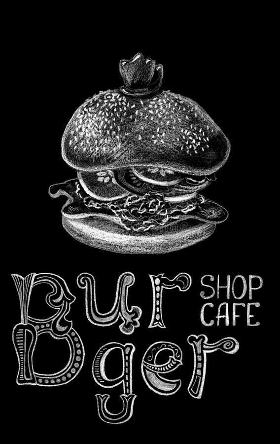 Hamburger ed iscrizione dal gesso su fondo nero Lavagna dell'hamburger con le lettere capricciose royalty illustrazione gratis