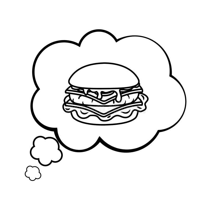 Hamburger em uma bolha do discurso preto e branco ilustração royalty free