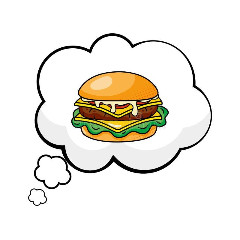 Hamburger em uma bolha do discurso ilustração do vetor